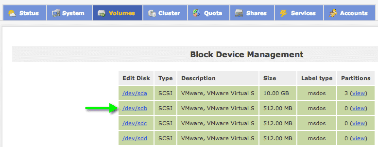 Block devices openfiler