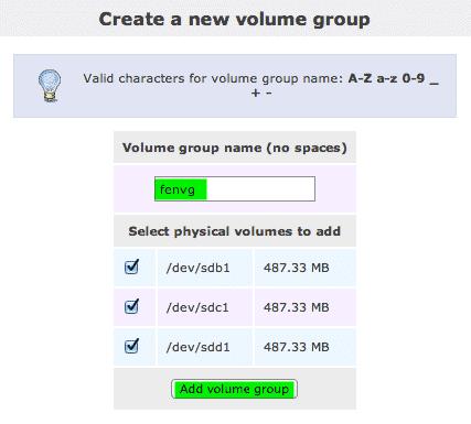 create volume openfiler