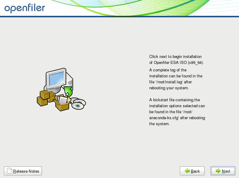 start installation openfiler