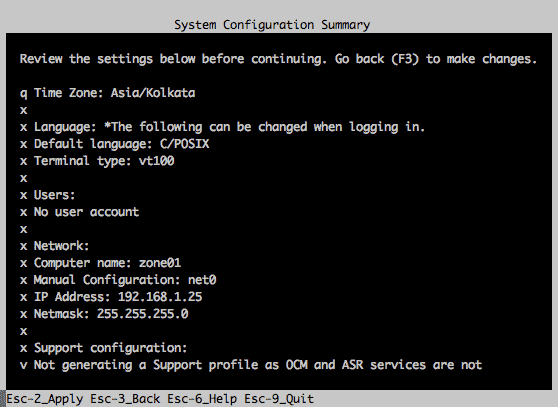 system configuration summary