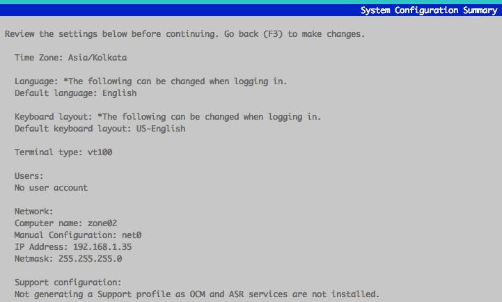 system configuration summary