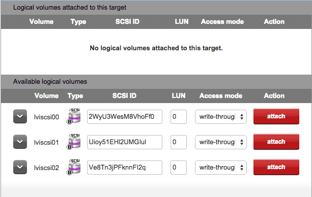 attach volumes iscsi open-e dss