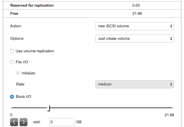 new iscsi volume open-e dss