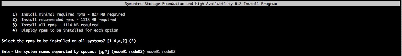 specify nodes sfha install vcs