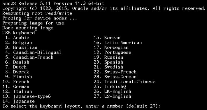 select keyboard solaris 11