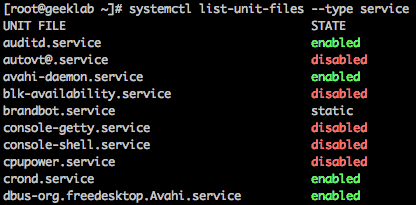 systemd service units status
