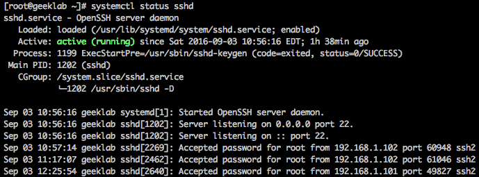 systemd status sshd