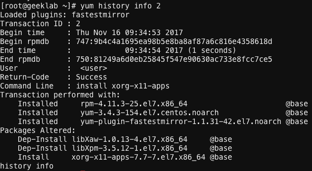 """yum history"""" command examples to display, rollback, redo"""